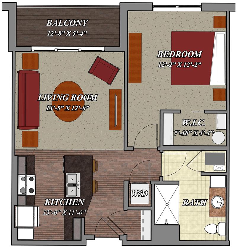 b1 one bedroom one bathroom apartment floor plan 800