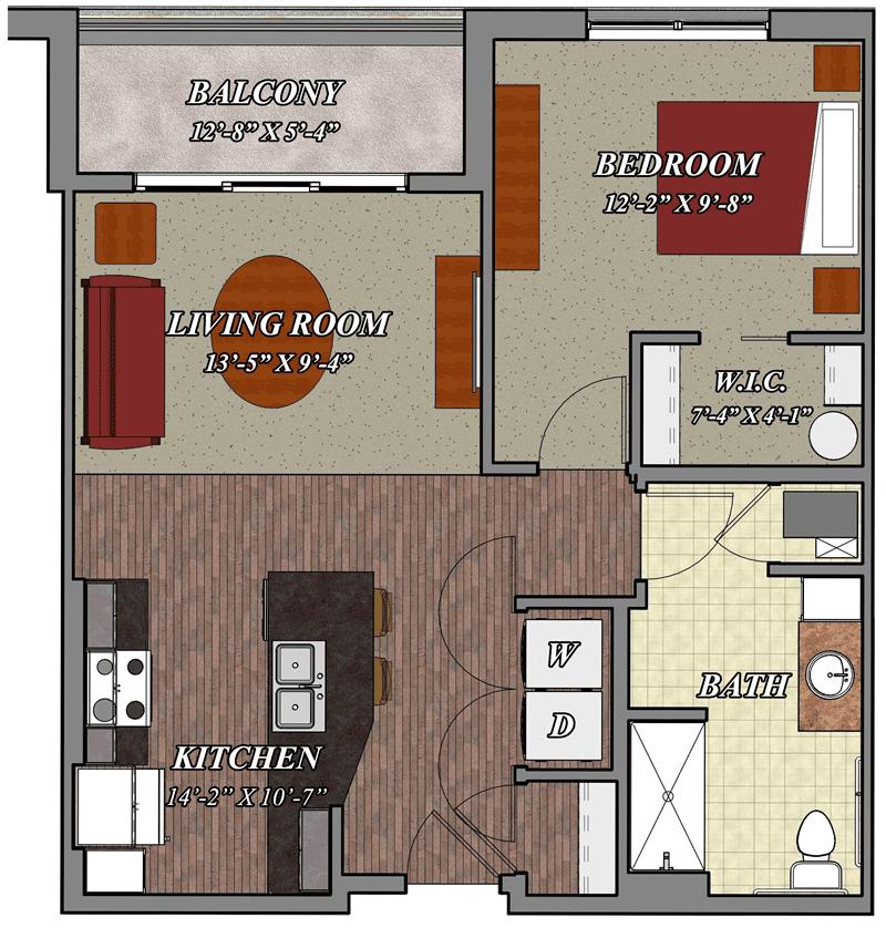 b1a one bedroom one bathroom apartment floor plan 800