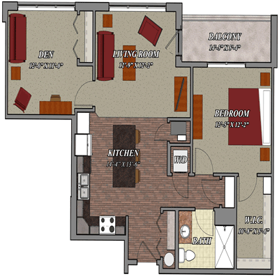 1 Bedroom 1 Bathroom Den Style C1 Lilly Preserve Apartments