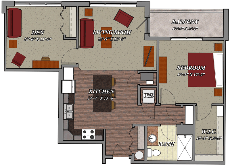 1 bedroom 1 bathroom den style c1 lilly preserve apartments for Apartment floor plans 1 bedroom with den