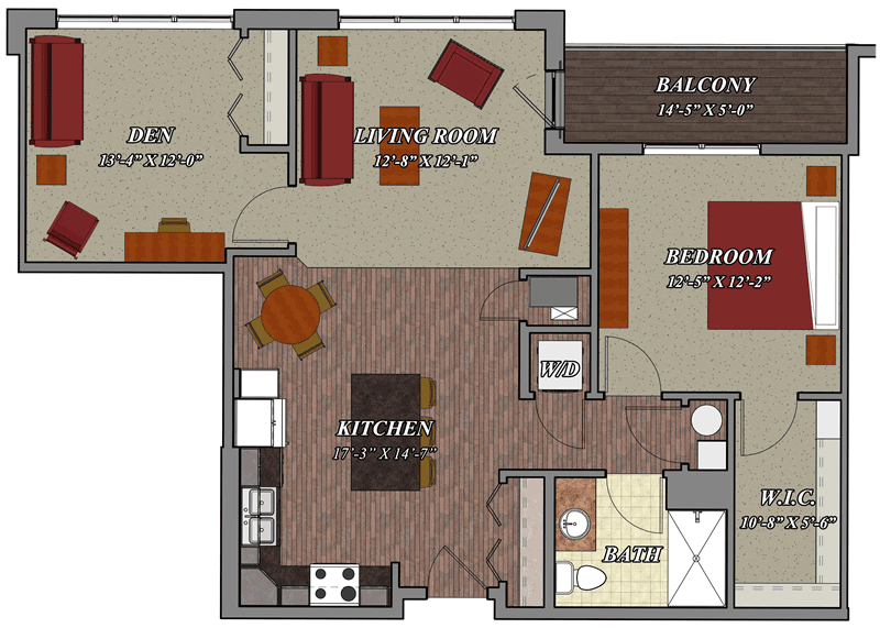 1 bedroom 1 bathroom den style c2 lilly preserve apartments for One bedroom apartment floor plans