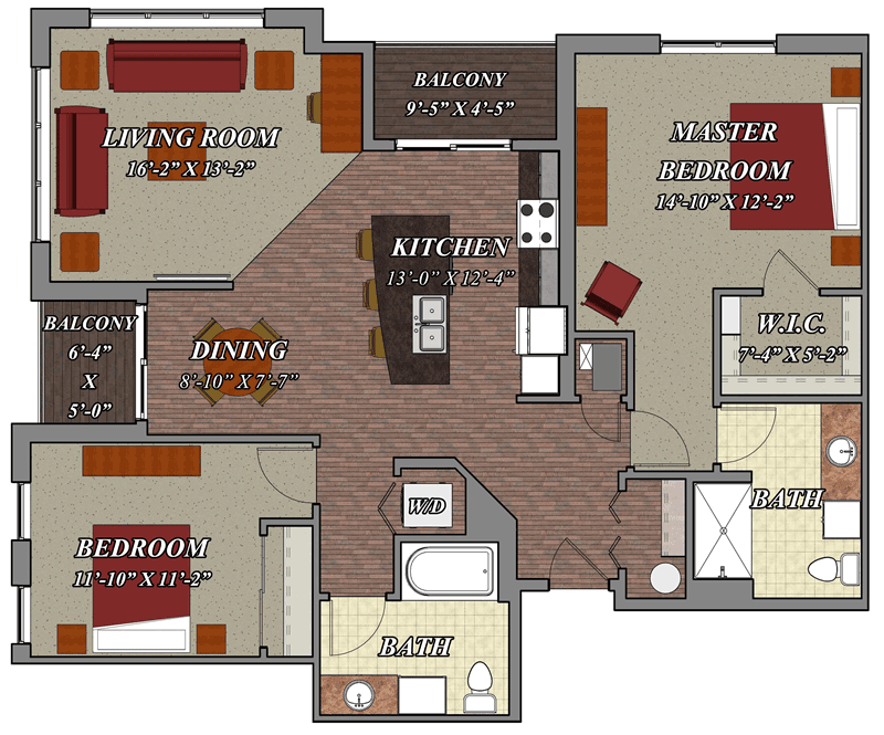 2 bedroom 2 bathroom style d1 lilly preserve apartments for Two bedroom two bath apartment floor plans