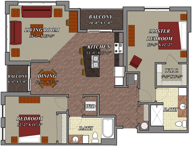 2 bedroom 2 bathroom style d2 lilly preserve apartments for 2 bedroom 2 bath apartment floor plans