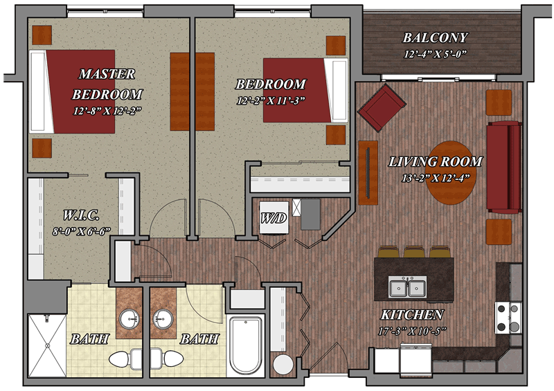 2 Bedroom 2 Bathroom Style D3 – Lilly Preserve Apartments