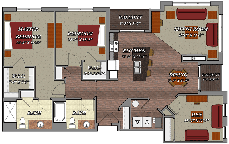 2 Bedroom 2 Bathroom Den Style E1 Lilly Preserve Apartments