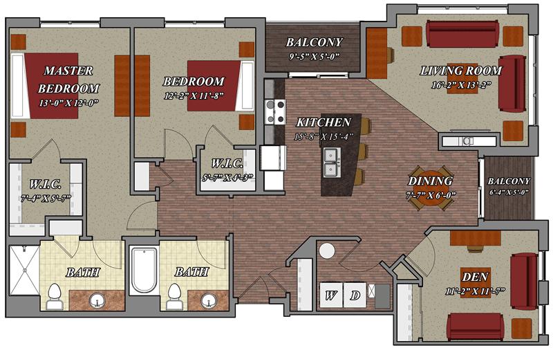 2 Bedroom 2 Bathroom Den Style E1 – Lilly Preserve Apartments