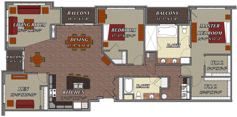 2 bedroom 2 bathroom den style e2 lilly preserve apartments for 2 bedroom with den