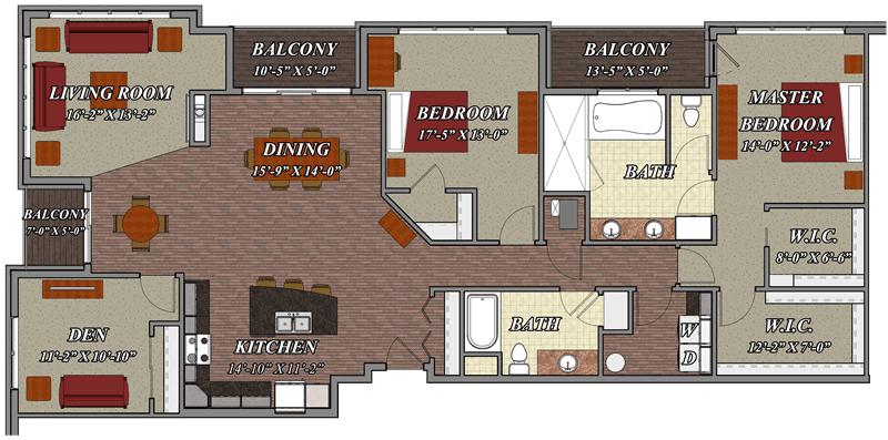2 Bedroom 2 Bathroom Den Style E2